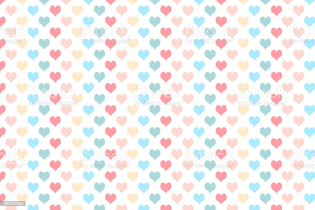 Heart pattern with pastel colour on white background vector art illustration