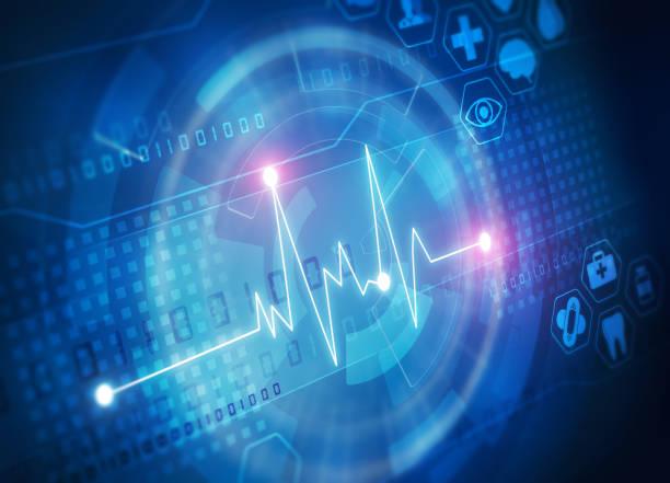 bildbanksillustrationer, clip art samt tecknat material och ikoner med hjärt frekvens diagram på blå skärm - kardiolog