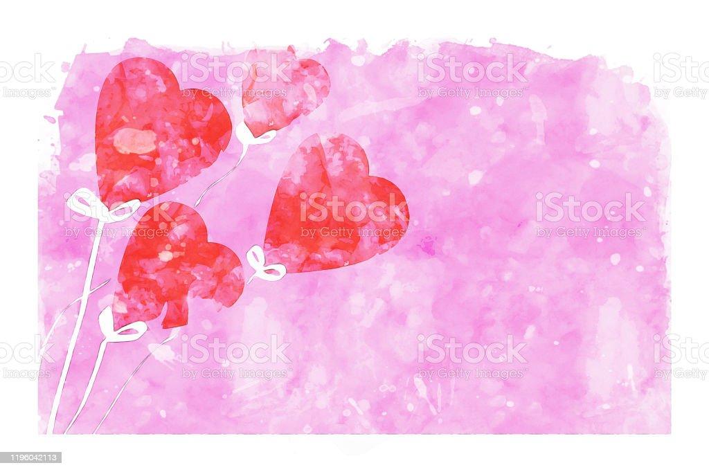 Pembe Suluboya Arka Plan Uzerinde Kalp Sekli Balonlar Sevgililer