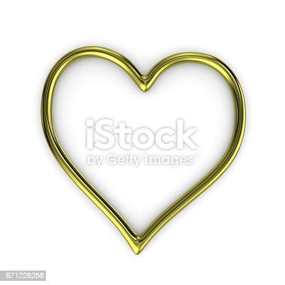 istock Heart Shape Gold Ring Frame 671228258