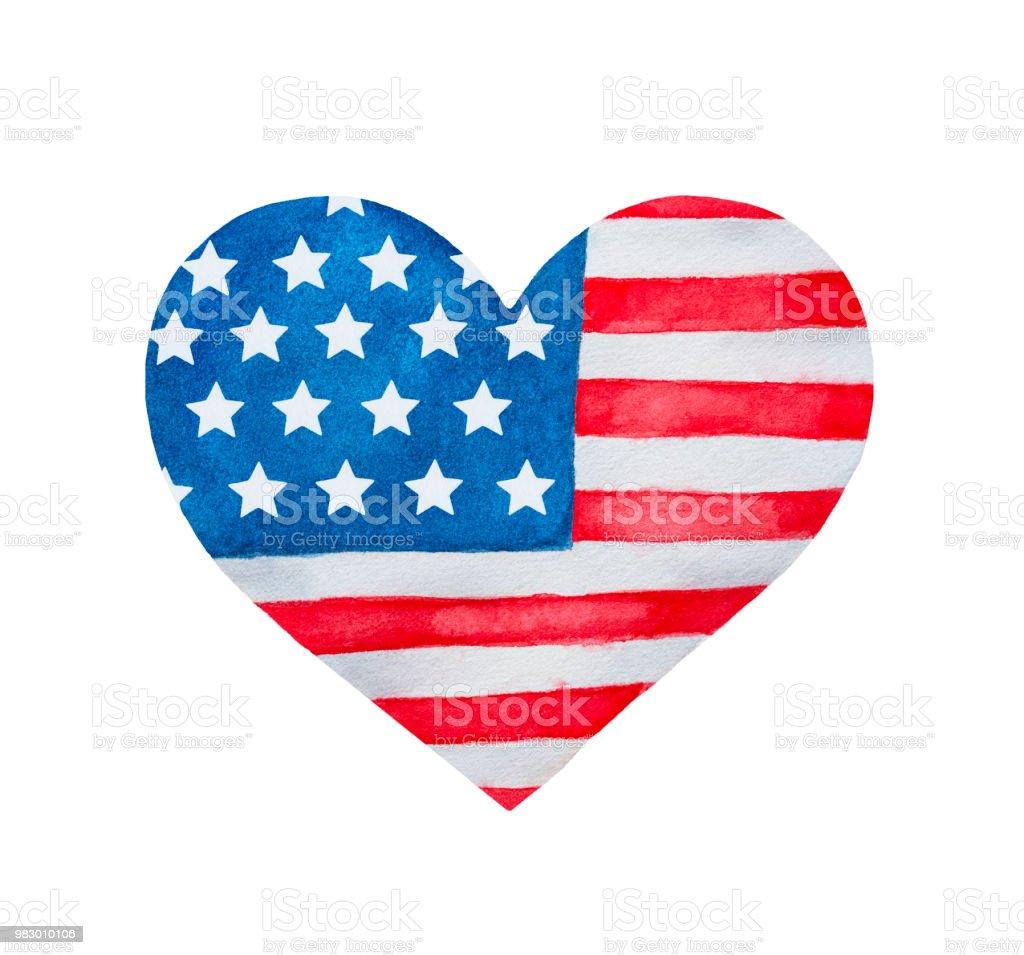 Heart shaped flag of Unites States of America. vector art illustration
