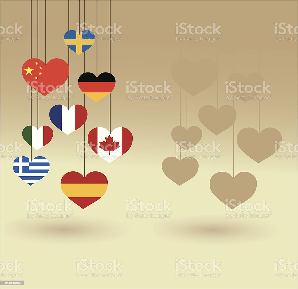 Heart shaped flags Hanging royalty-free stock vector art