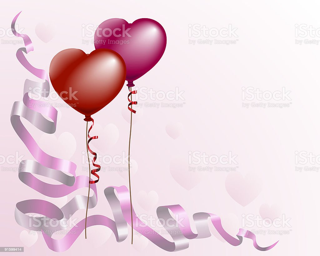 Heart shaped love balloon background royalty-free stock vector art