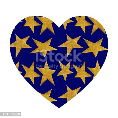 Heart shaped pattern with stars. Backdrop with golden metallic stars on a night blue sky background. Stylish ornament for valentines day and wedding.