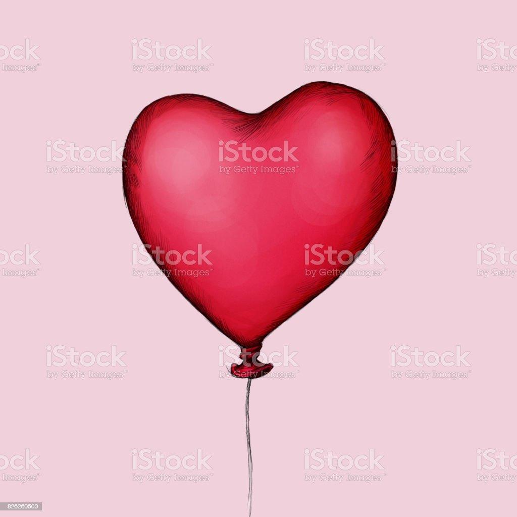 Herzförmiger red balloon – Vektorgrafik