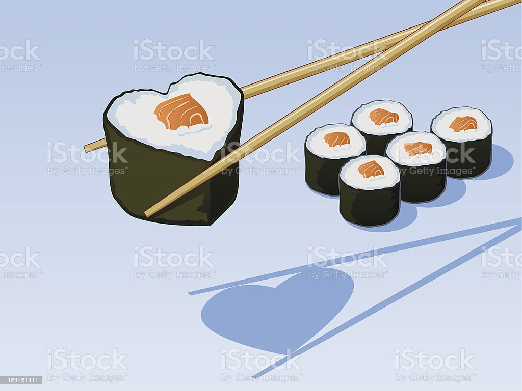 Heart Shaped Sushi vector art illustration