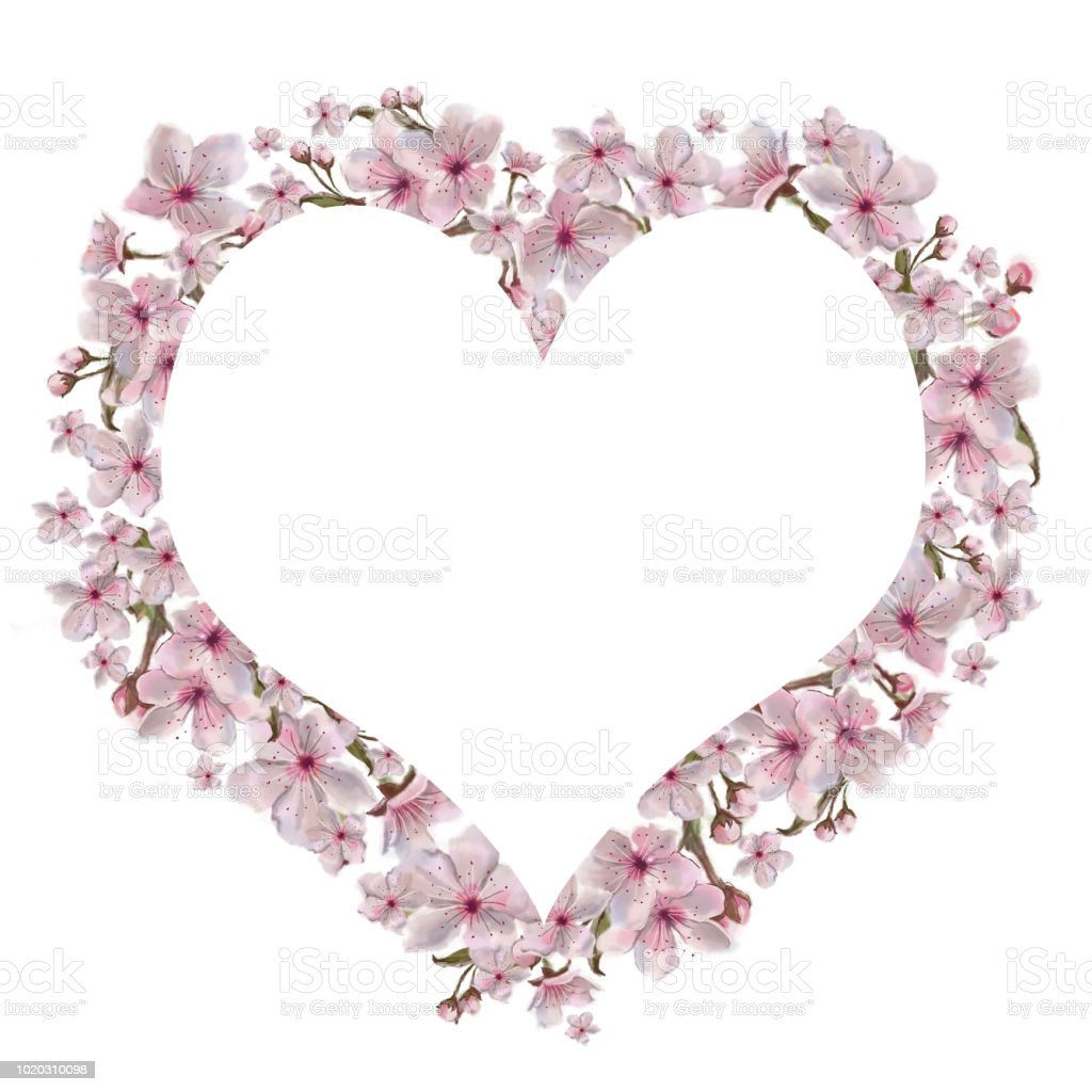 Heart Shaped Template Decorated With Pink Flowers Stock Vector Art