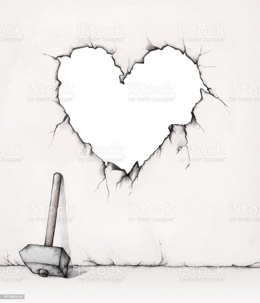 Heart shaped wall breakthrough – Vektorgrafik