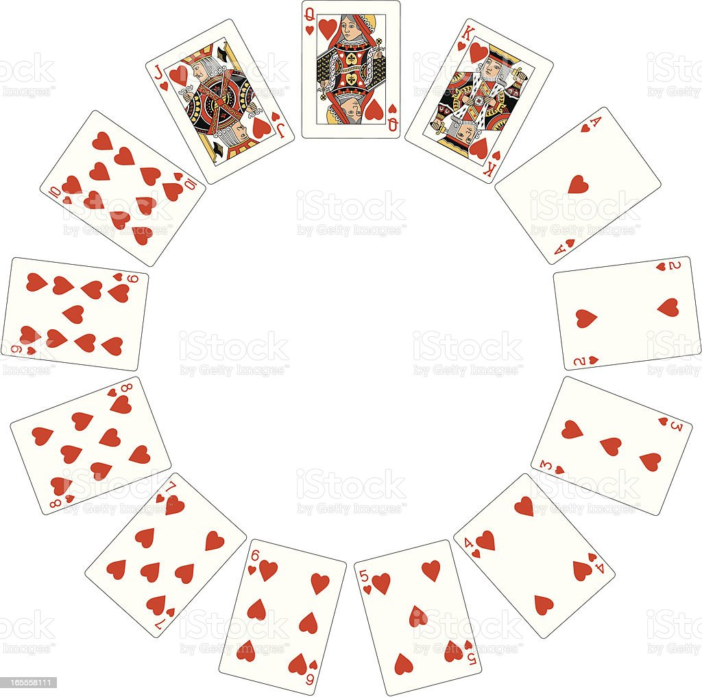 Heart Suit Two Circle of playing cards royalty-free stock vector art