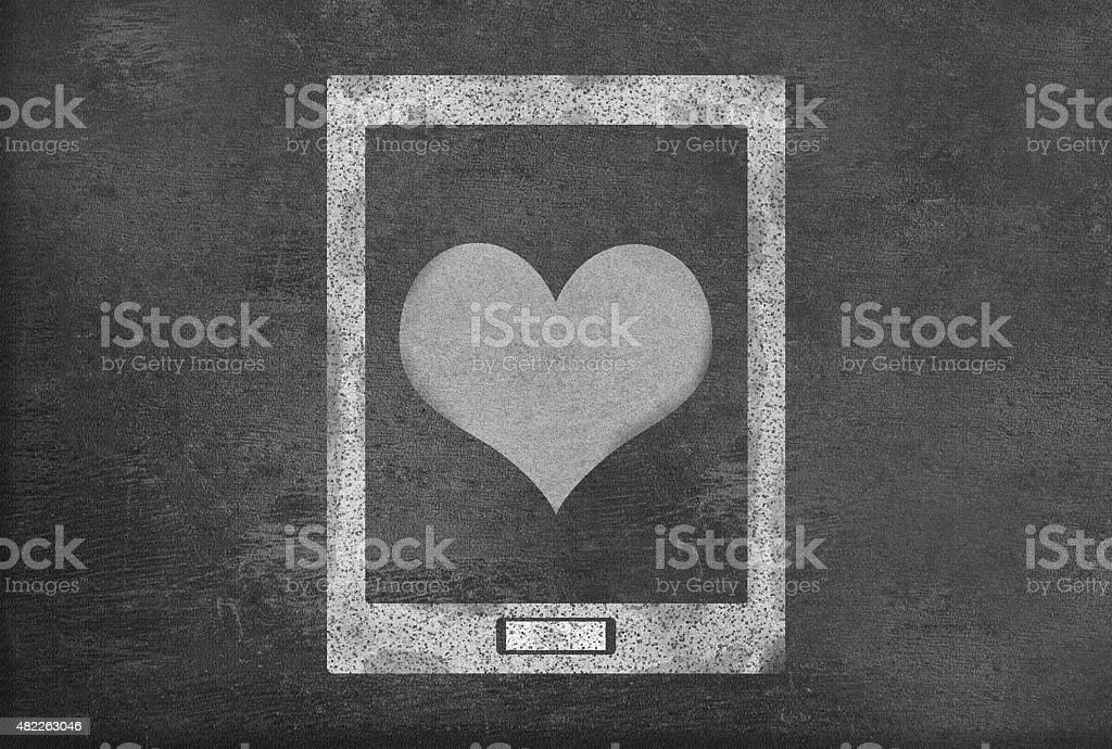 Heart Symbol On A Tablet Pc Drawn On Blackboard Stock Vector Art
