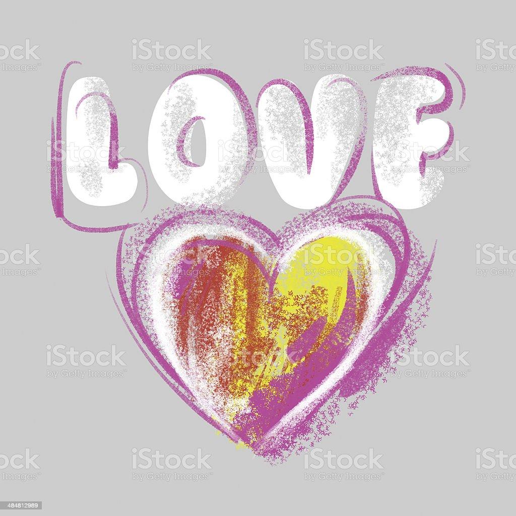ハートバレンタインデーです 絵とクレヨン灰色の背景