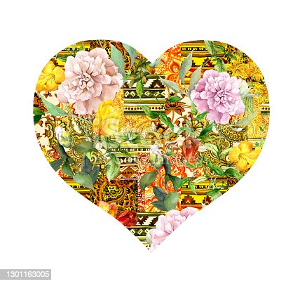 istock Heart with decorative ornament - mix of native ornaments and flowers. Watercolor for Valentine day, wedding design 1301163005