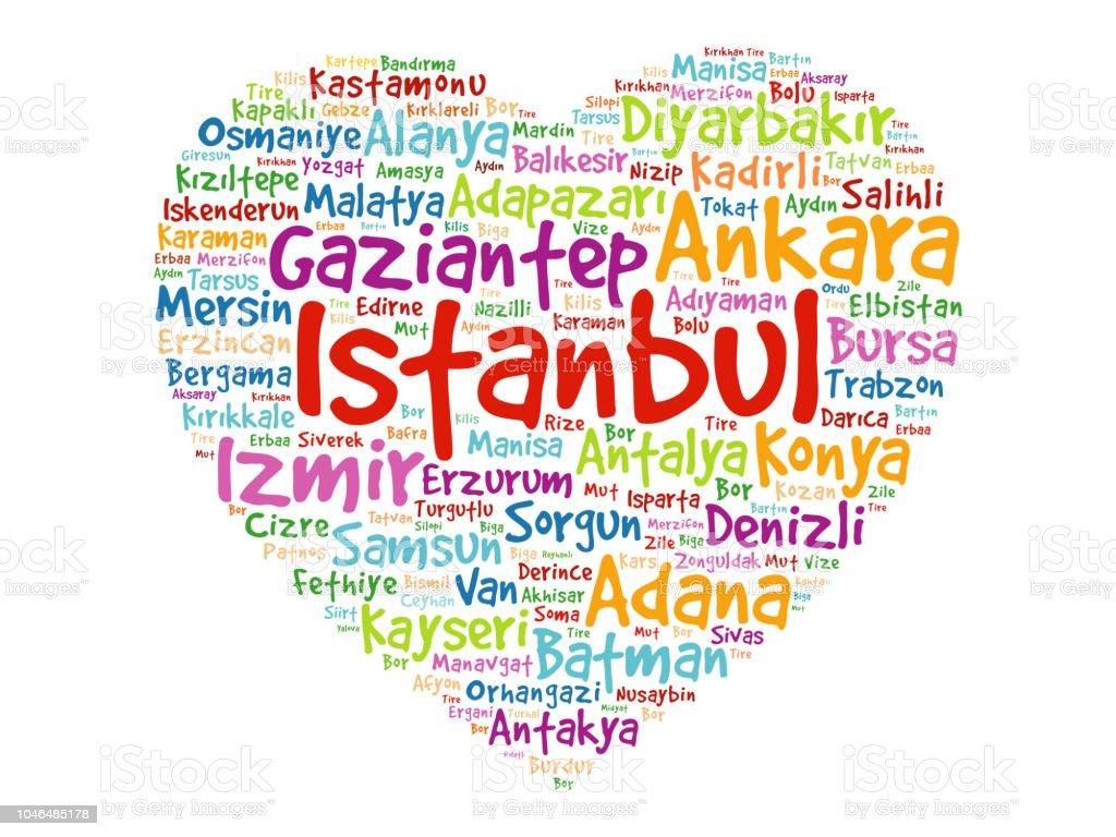 Kalp ile Türkiye'deki şehirler listesi vektör sanat illüstrasyonu