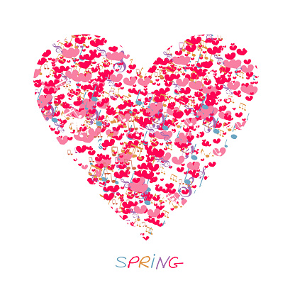 Heart with notes Love hand drawn illustration heart on white background. Valentine day, romantic holiday symbol.