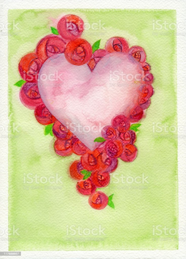 heart with roses royalty-free stock vector art