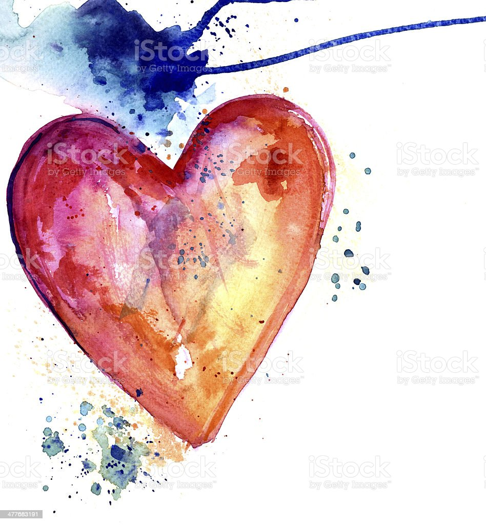 Heart with stain watercolor royalty-free heart with stain watercolor stock vector art & more images of art product