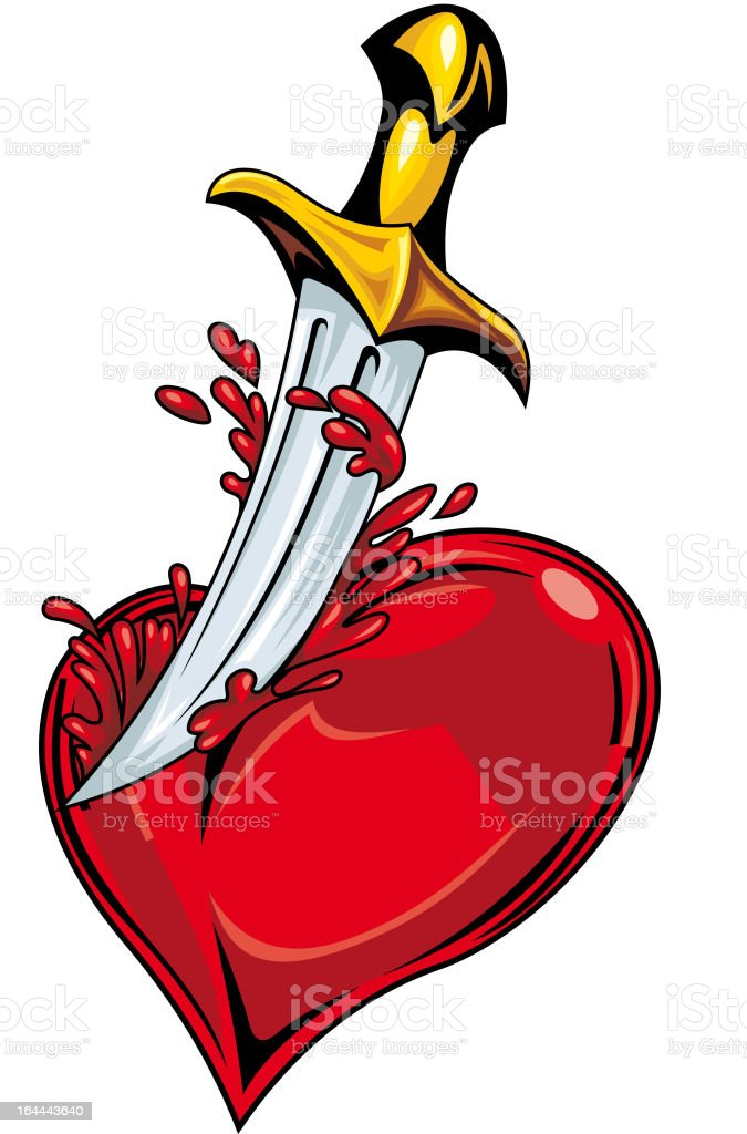 Heart with sword royalty-free stock vector art