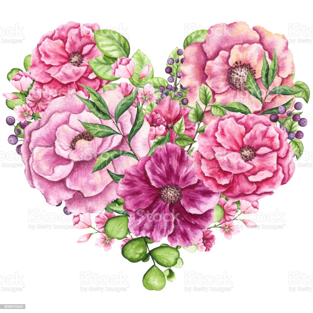 Heart With Watercolor Pink Flowers Stock Vector Art More Images Of