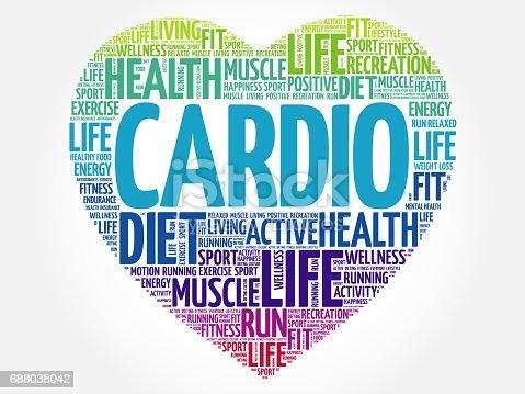 cardio heart word cloud stock vector art more images of aerobics