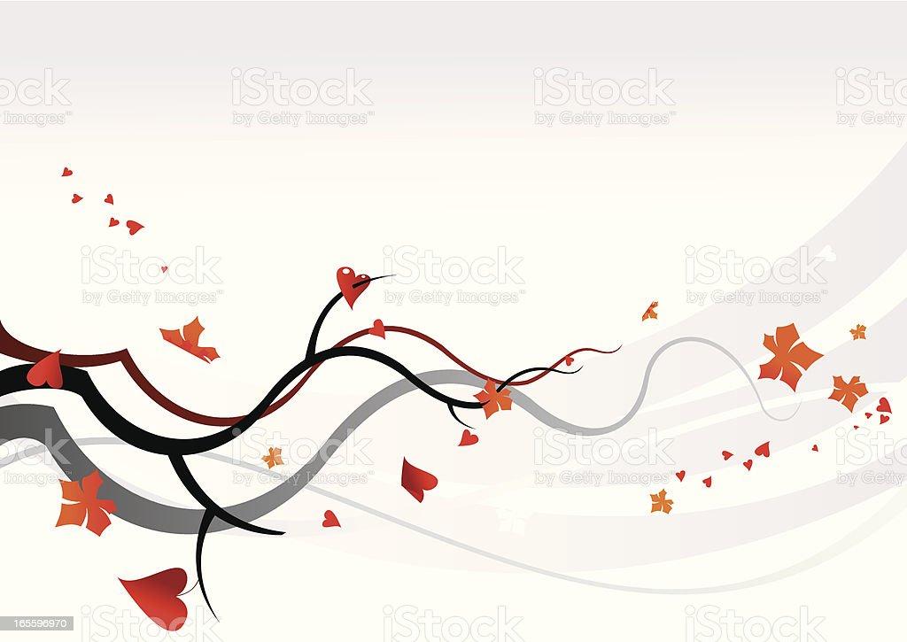 Corazones y hoja de otoño en el viento ilustración de corazones y hoja de otoño en el viento y más banco de imágenes de abstracto libre de derechos
