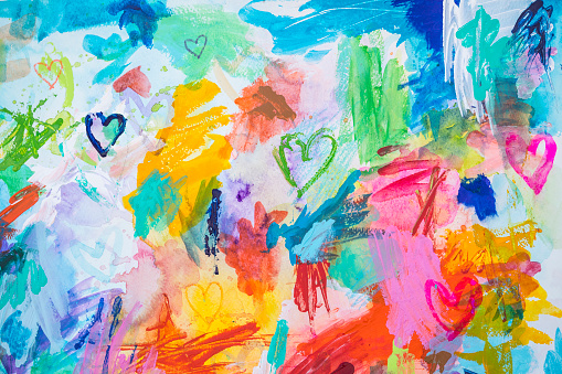 Heart shapes and scribbles- colorful messy painting with acrylic and watercolor colors. my own work.
