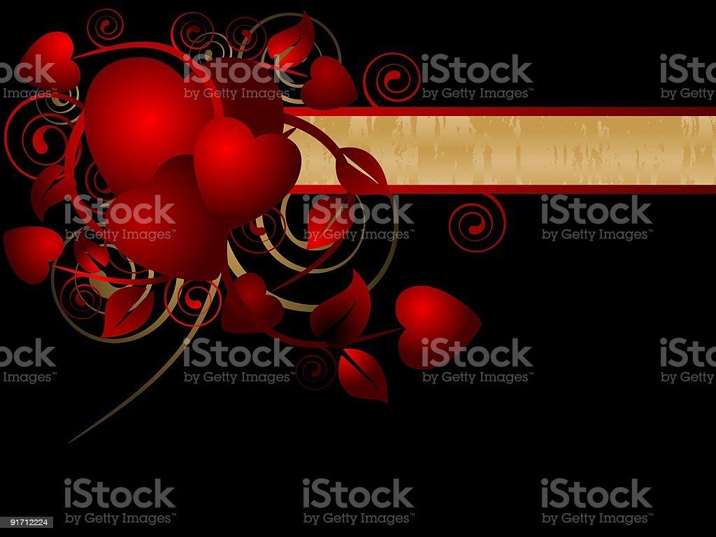 Hearts Banner vector art illustration
