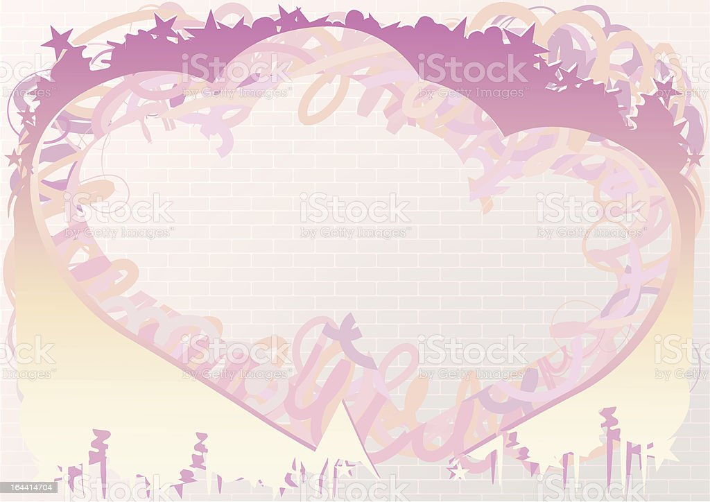 Hearts Graffiti vector art illustration