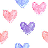 istock Hearts pink, purple, blue on a white background seamless pattern. 1323805959