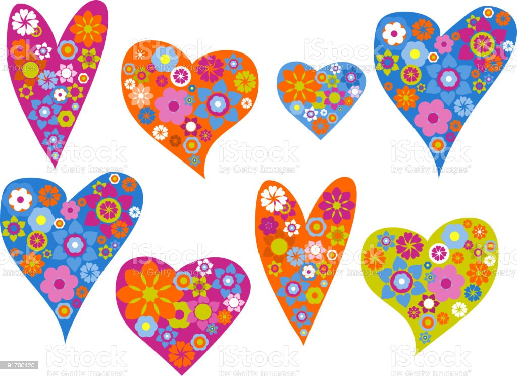 hearts with patterns royalty-free stock vector art