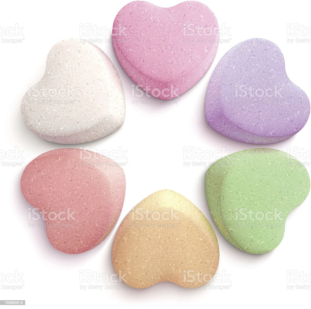 Heart-shaped candies vector art illustration