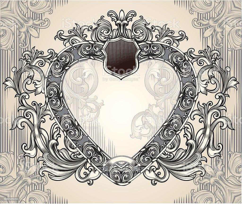 Heart-shaped frame vector art illustration