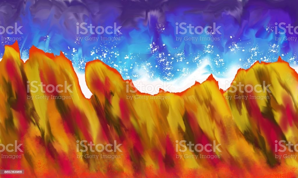 Heat and water A strong abstract image, which contains two major Contradictions, with their different structures, textures, and varied colors of blue-white, red-yellow trend. Abstract stock illustration