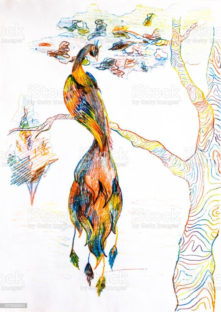 Chaleur Oiseau Sur Une Branche Darbre Dessiner Avec Des Crayons De