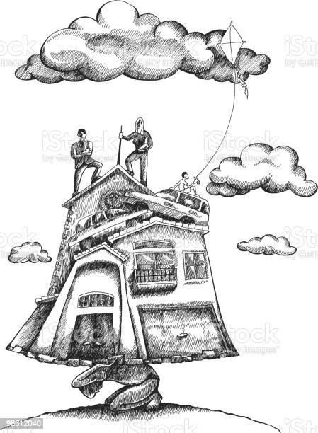 Heavy Financial And Social Burdens Stockvectorkunst en meer beelden van Architectuur