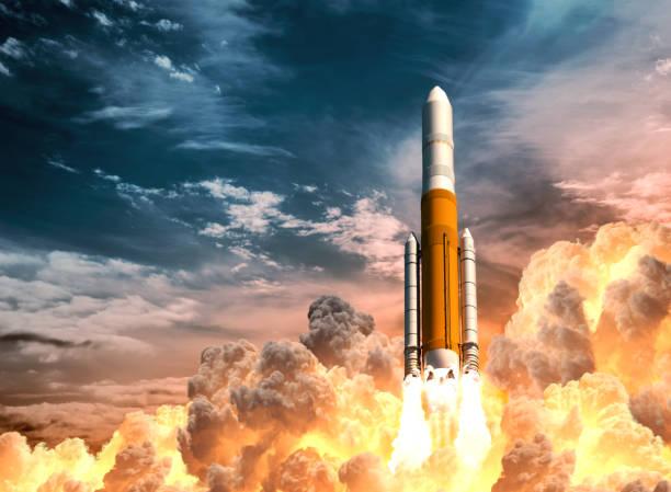 illustrations, cliparts, dessins animés et icônes de heavy rocket launch on the background of cloudy sky - décoller activité