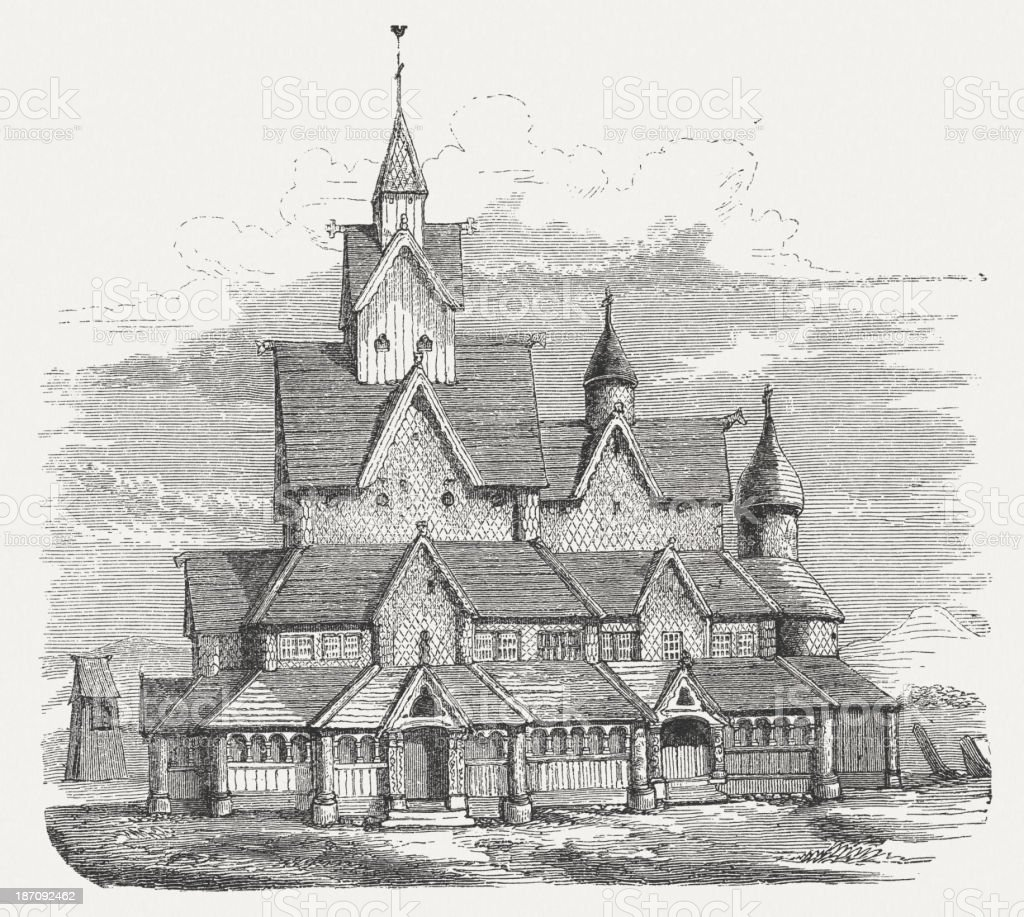 Heddal Stave Church (built c.1240), Norway, wood engraving, published 1876 royalty-free stock vector art
