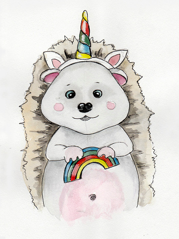 A hedgehog with a rainbow in his hand and in a unicorn costume. Watercolor illustration.