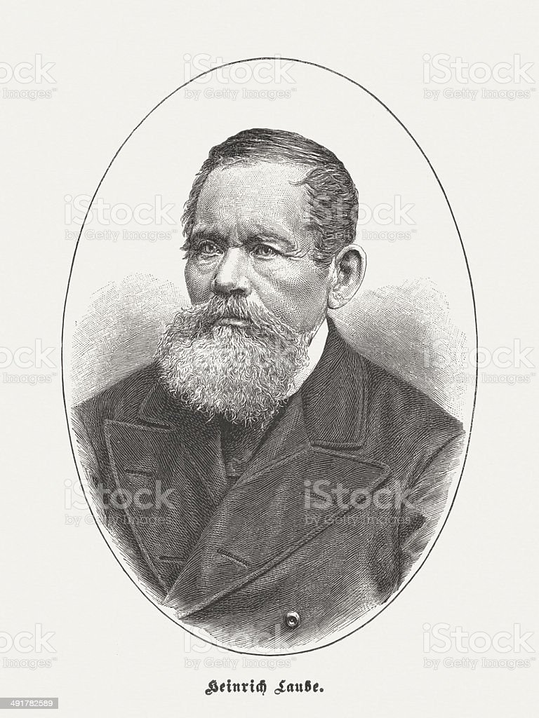 Heinrich Laube (1806-1884), German writer, wood engraving, published in 1884 royalty-free stock vector art