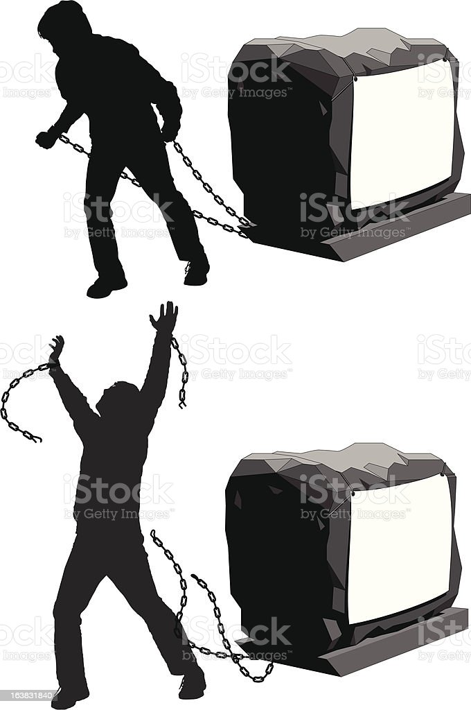 Man held back and then breaking the chains to gain freedom illustration : Istockphoto