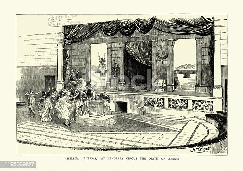 Vintage engraving of Helena in Troas, At Hengler's circus, Death of Oenone, Classical theatre