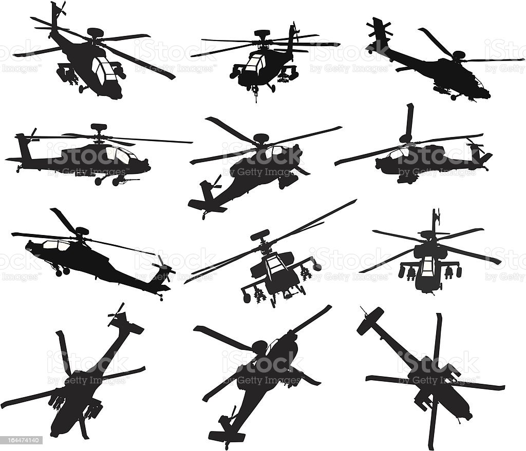 Helicopter silhouettes set vector art illustration