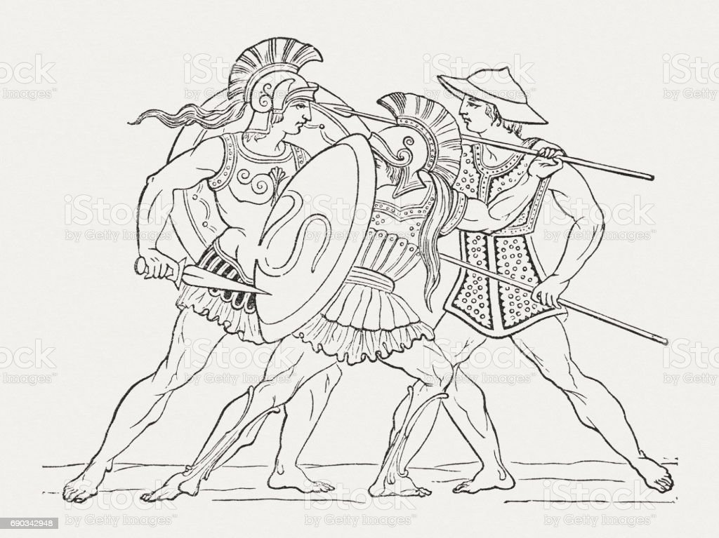 Hellenistic warriors of Antiquity, wood engraving, published in 1880 vector art illustration