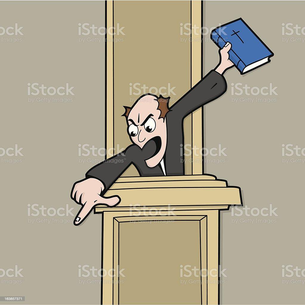 Helllfire and Brimstone Preacher vector art illustration