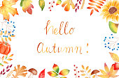 istock Hello autumn watercolor raster banner template with lettering 1178749156