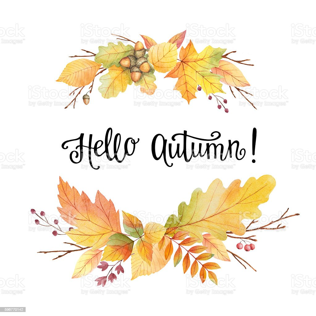 Hello Autumn Watercolor Wreath With Colored Leaves And ...