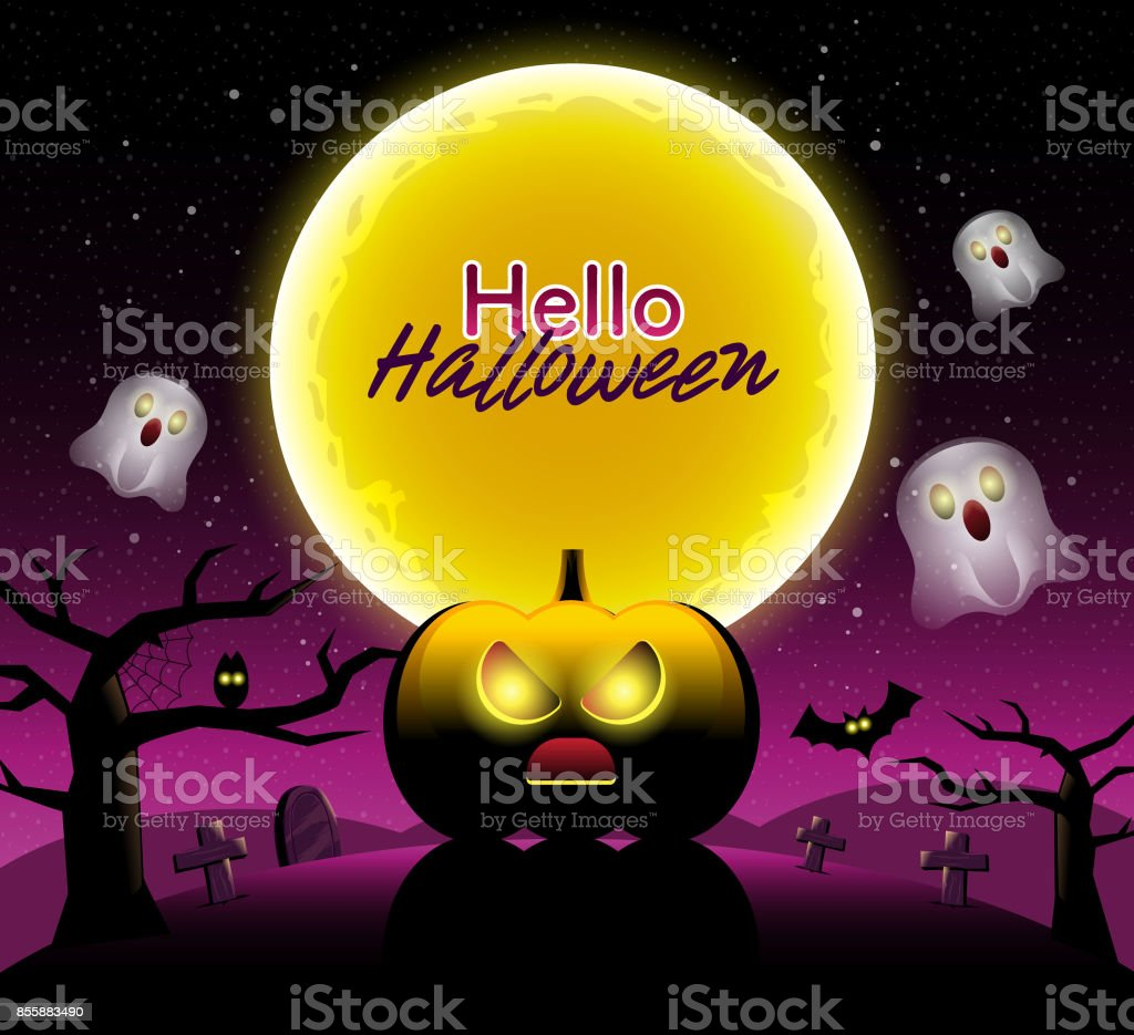 hello halloween scary night backgrounds with pumpkin vector