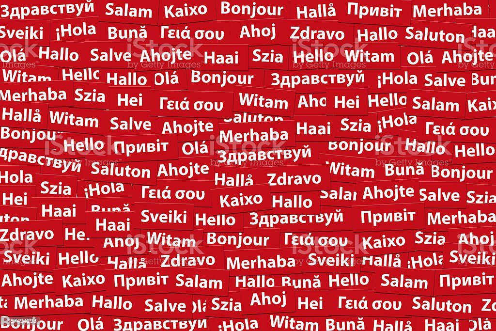 Hello in Different Languages vector art illustration
