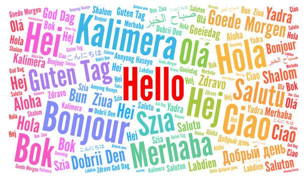 illustrazioni stock, clip art, cartoni animati e icone di tendenza di hello in different languages word cloud - lingua