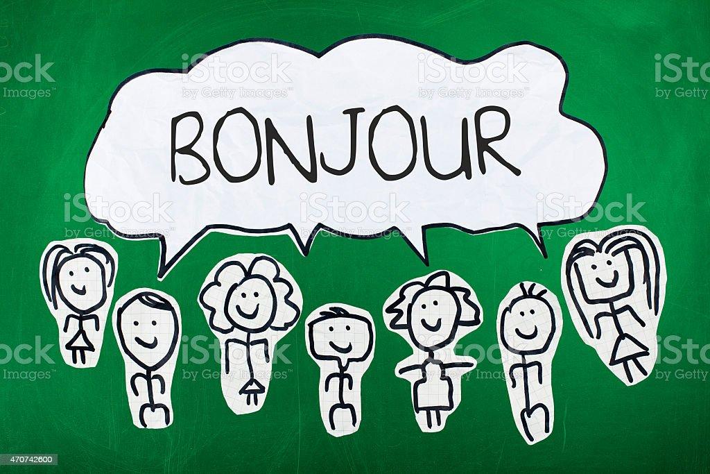 Olá, na língua francesa/palavra francesa Bonjour de discurso Bolha - ilustração de arte em vetor