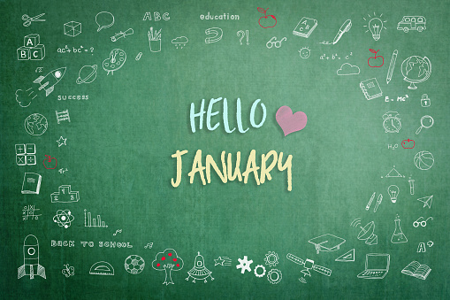 Hello January Greeting On Green School Teachers Chalkboard With Creative  Students Doodle Of Learning Education Graphic Freehand Illustration Icon  For Back To School Month Concept Stock Illustration - Download Image Now -  iStock